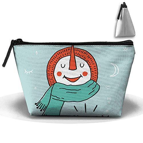 Kerstsneeuwpop genieten van sneeuw waterdichte trapeziumtas make-up tas grote reis toilettas draagbare opslag potloodhouder
