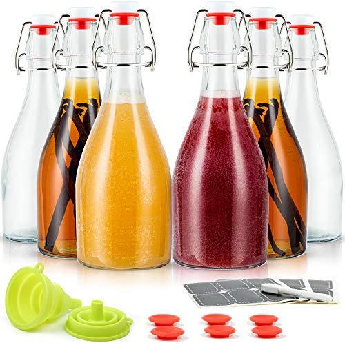 WILLDAN Set of 6-16oz Swing Top Glass Bottles - Flip Top Brewing Bottles For Kombucha, Kefir, Vanilla Extract, Beer - Airtight Caps and Leak Proof Lids, Replacement Gaskets and Funnel Included