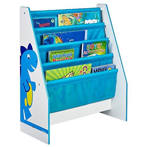 Hello Home Worlds Apart Dinosaurier Regal für Kinderbücher Estantería Infantil con diseño Dinosaurio, MDF, Blanco y Azul, 60.00x51.00x23.00 cm