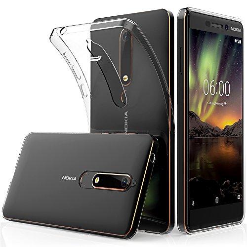 Peakally Cover per Nokia 6.1 / Nokia 6 2018, Trasparente Morbida TPU Silicone Ultra Sottile Custodia Case per Nokia 6.1 / Nokia 6 2018-Trasparente