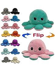 Juting Poupée Mignonne Poulpe Double Face Flip Octopus en Peluche, poupée d'animaux en Peluche réversible Douce Poulpe,Cadeaux Jouets créatifs colorés pour Enfants,Famille,Amis