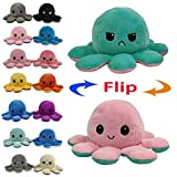 Juting Cute Octopus Doll Double-Sided Flip Octopus Plush Toy,Soft Reversible Octopus Stuffed Animals Doll,Colorful Creative Toy Gifts for Kids Family Friends (1Pcs,Black+Red)