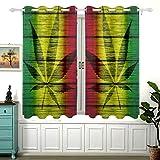 Yushg Bandera de Madera de Textura Rasta con Marihuana para Cortinas Anchas Que oscurecen la habitación del Dormitorio Cenefas de Cortina Deslizante para Ventanas Cortinas Opacas con oja