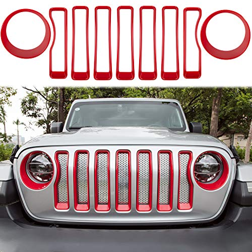 LAIKOU Front Grille Insert Grill Cover & Headlight Lamp Cover Decor Trim Exterior Protection...