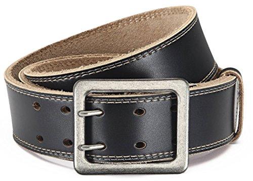 Eg-Fashion Herren Jeansgürtel aus Büffelleder stylische Doppeldorn-Schließe in 4,5 cm Breite - Massige Schnalle im Used Look (Bundweite: 120cm = Gesamtlänge: 135cm, Schwarz)