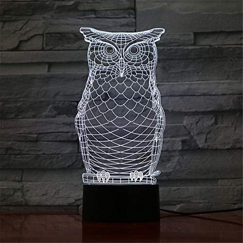 Lámpara de noche con diseño de búho, ilusión 3D, con mando a distancia, 7 colores que cambian de Navidad, Halloween, regalo de cumpleaños para niños y niñas