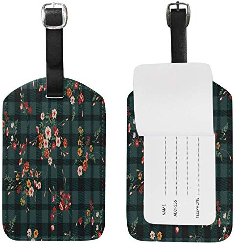 Luggage Tag Vintage Ditsy Floral Pattern Travel Tag Name Card Holder for Baggage Suitcase Bag TAG-286