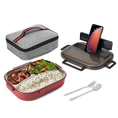 Nineferno Lunchbox- mit Edelstahl Fächern[1200ml] Auslaufsicher & BPA-frei -Für Kinder & Erwachsene. inkl Besteck, Handyhalterung & Tasche,Rot