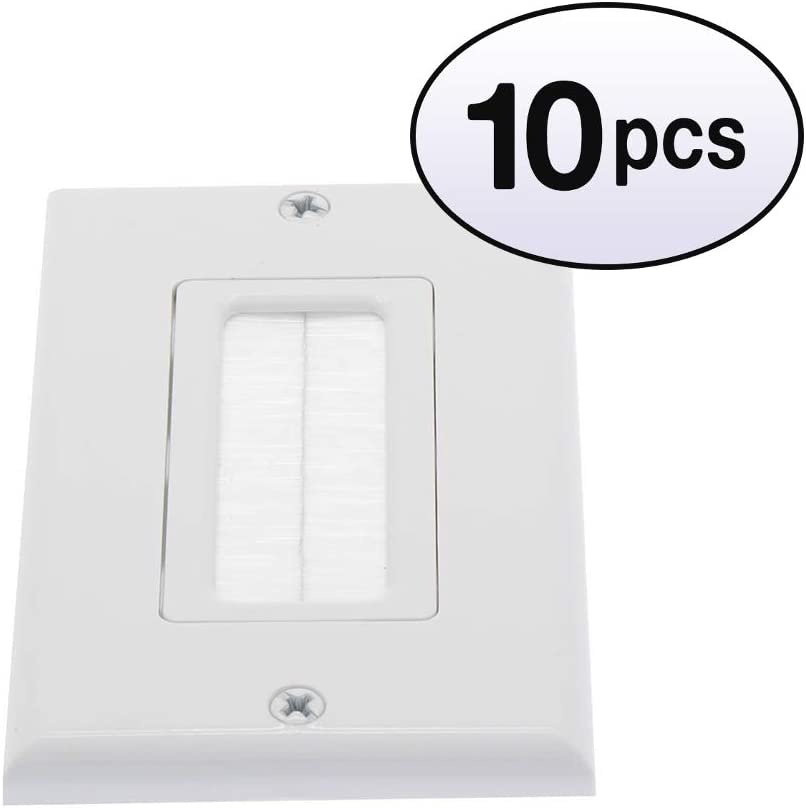 Complete Free mart Shipping GOWOS 10 Pack 1-Gang White Brush Wall Plate
