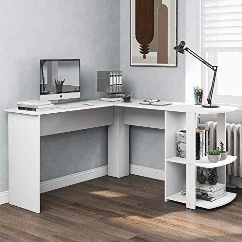 Escritorio en forma de L para ordenador, escritorio de esquina con 2 estantes, mesa de oficina moderna de Particle Board para estudio, oficina en casa, juegos, fácil montaje (blanco)