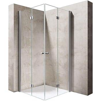 ELEGANT 760 x 700mm Square Corner Entry Shower Enclosure with Sliding Reversible Shower Door for Bathroom Enclosure Cubicle