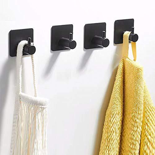 AICHUANGBAO Accesorios baño Negro, 4 Piezas Autoadhesivo 304 Inoxidable toalleros, Compañero de Cocina, Dormitorio, baño