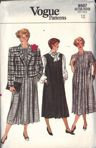 Vogue 9507 Maternity Dress Jacket Sewing Pattern Size 12