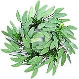 Uwax 16 Inch Handmade Green Leaves Wreath for Front Door, Spring Summer Outdoor Greenery Wreath for Wall, Window, Farmhouse, Garden Decor