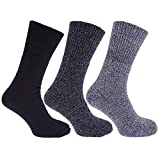 Mens Thermal Non Elastic Wool Blend Socks (2.1 Tog) (Pack Of 3) (US Shoe 7-12) (Shades Of Blue)