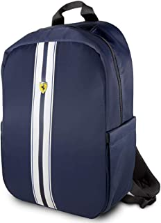 "Ferrari Pista Metal Logo On Track Backpack 15"" with Charging Cable - Navy"