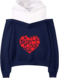 $21 » Women's Cut Out Cold Shoulder Pouch Pocket Drawstring Pullover Hoodie Heart Print Fake Two-Piece Tops