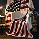 """Patriotic US Flag Print Sherpa Throw Blanket - Lightweight Microfiber for Couch and Bed - Great Gift for Veteran Friend Men Women Proud American House (55""""-70.8"""")"""