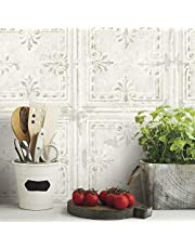 RoomMates Tin Tile White Peel and Stick Wallpaper