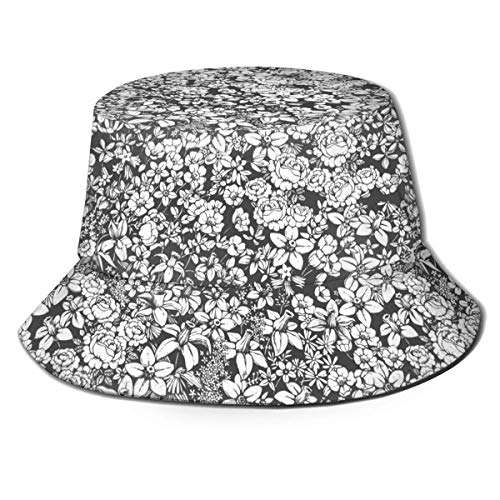 Ginger-Ale Gran patrón sin Costuras Unisex con Estampado de Flores Sombrero de Cubo de Viaje Gorra de Pescador de Verano Sombrero para el Sol Negro