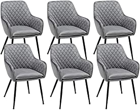 Yaheetech Dining Chairs Velvet Armchairs for Counter Lounge Living Room Corner Chair Steel Legs Upholstered Modern Tub Chairs with Backrest Armrest Gray, 6PCS