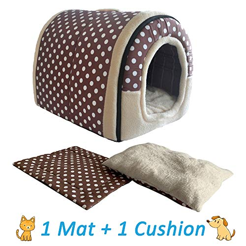 ANPI 2 in 1 Dog House Cat Igloo, Foldable Machine Washable Cat Bed Cave Non-Slip Soft Warm Pet Rabbit House Sofa with Detachable Cushion, 3 Sizes, Multicolour (Large, Brown Polka Dots)