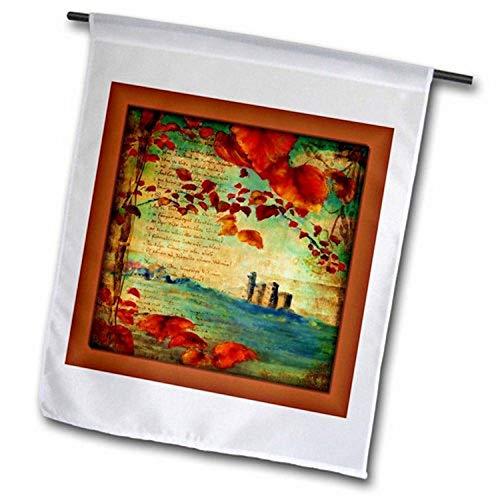 3dRose FL_99454_1 Gartenflagge Schloss und Blätter im Mittelalter Buch, 30,5 x 45,7 cm
