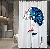 JOVEGSRVA Cortina de ducha de tela a prueba de moho de Lotus Fish para baño impermeable cortina de baño con 12 ganchos