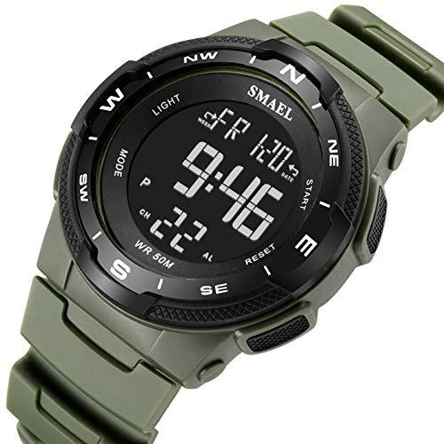 QZPM Relojes Deportivos para Hombre, De Analógico Resistente Al Agua Digital Grande De La Cara Militares Relojes Electrónicos,Verde