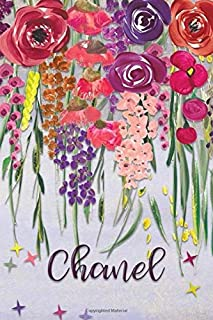 Chanel: Personalized Lined Journal - Colorful Floral Waterfall (Customized Name Gifts)