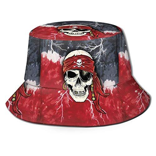 Sombrero de Pesca, Gorra Pirata con Brillo de Calavera en la Oscuridad Gorra de Sol de Pescador con Efecto Tie-Dye, fácil Conveniente Sin Pelota Sombrero de Sol Tradicional de Pescador para Regalos