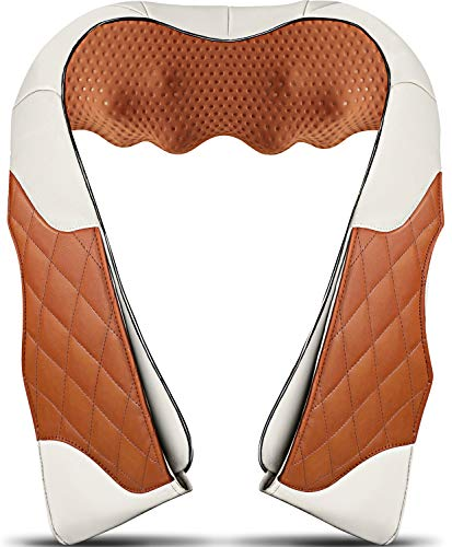 Neck Massager with Heat,Deep Kneading Back Massager,3D Massage for Back Neck Shoulder Waist and Foot, Shiatsu Electric Neck Shoulder Back Massager,Use at Home Office and Car, Christmas Gifts
