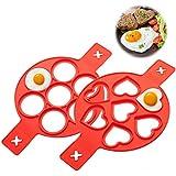 LIUMY ARTISTORE Lot de 2 moules à Omelette en Silicone avec 7 Trous en...