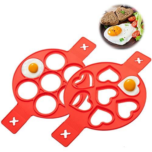 LIUMY 2 Stück Omelett Fixierer Silikon Pfannkuchenformen mit 7 Löchern Herz & Runde, Ungiftige und geschmacklose Omelett Eierring für DIY Backform Ei/Spiegelei/Pfannkuchen (Rot)
