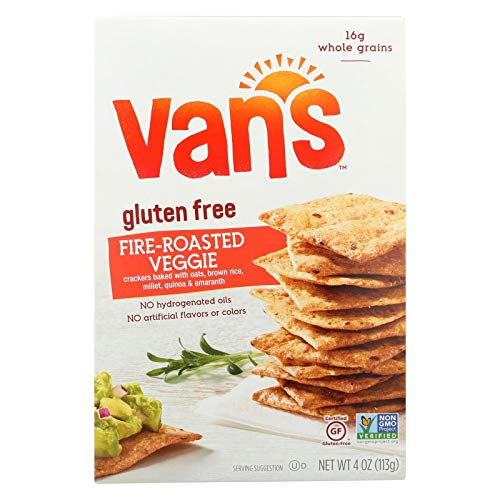 Van's Natural Foods Gluten Free Crackers - Fire Roasted Veggie - Case of 6 - 4 oz.