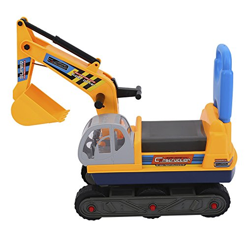 Zerone Kinder Bagger, Stabiler und Robuster Sitzbagger Kinderspielzeug Bagger LKW Spielzeug für Kinder aus Kunststoff für Den Sandkasten Zum Draußen Spielen Geeignet