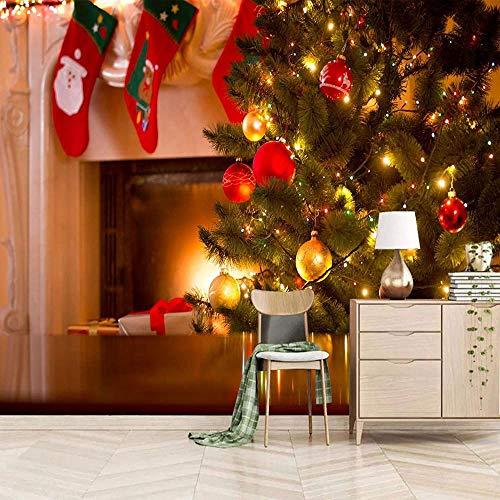 Árbol de Navidad calcetines armario mural HD moderno 3D dibujos animados papel tapiz decoración de dormitorio de niños-200x140cm