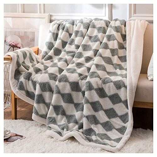 HZK Double-Sided Throw Blankets with Flannel Lamb Wool,Air Conditioning Blanket Bed Office Napping Blanket Coral Fleece Lamb Cover Wool Blanket Quilt Thicken,59x87inch WDDT