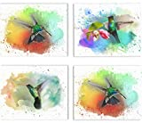 """ORIGINAL - Bring a unique artwork to any room or office decorations GIVES JOY - These beautifully crafted Humming bird artprints will be a delightful addition to any room. Great alternative to stickers and decals READY TO FRAME - You get four 11""""x 14..."""