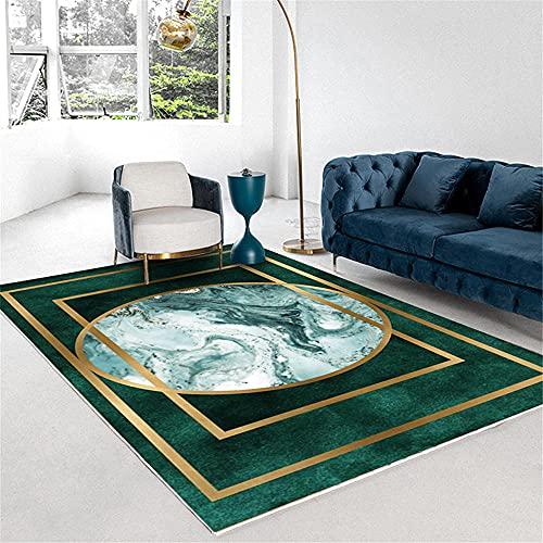 Kunsen Sofa Rechteckiger goldener Grenze modern minimal grün goldener geometrischer Teppich-100x100cm. Waschbare und pflegeleichte dekorative Teppiche Wohnzimmergroßer Teppich Schlafzimmer rutschfeste