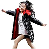Girls' Kids Winter Fur Hooded Down Coat Puffer Jacket Parka 5 6 7 8 9 10 11 12 Years Overcoat for Big Girl (9-10 Years, Black)