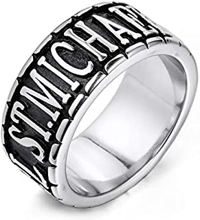 MENDINO Mens Stainless Steel Ring The Archangel ST.Michael Round of Silver Tone Colour with 1X Velvet Gift Bag (Silver)