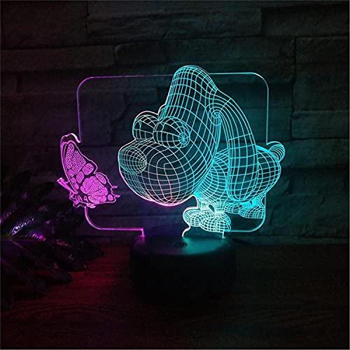 SLJZD luz de noche Modelo De Perro De Cabeza Grande 3D Usb Luz Nocturna Colorida Para Decoración De Dormitorio 7 Colores Lámpara De Escritorio LedRegalo De Cumpleaños Para Niño Con Control Remoto