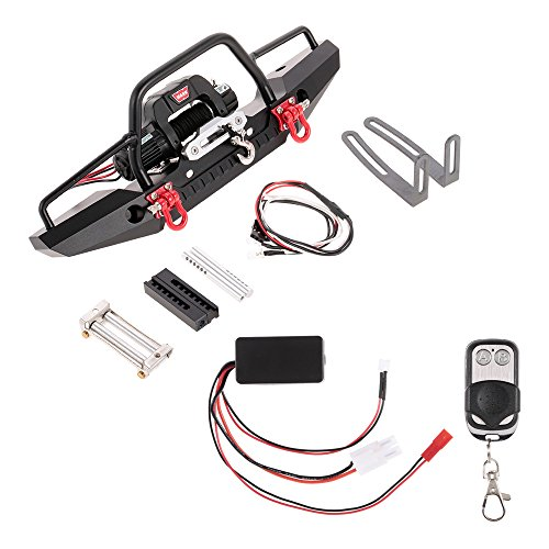 Goolsky Metal Front Bumper with 2 LED Light & Remote Control Electric Winch for TRX-4 SCX10II 90046