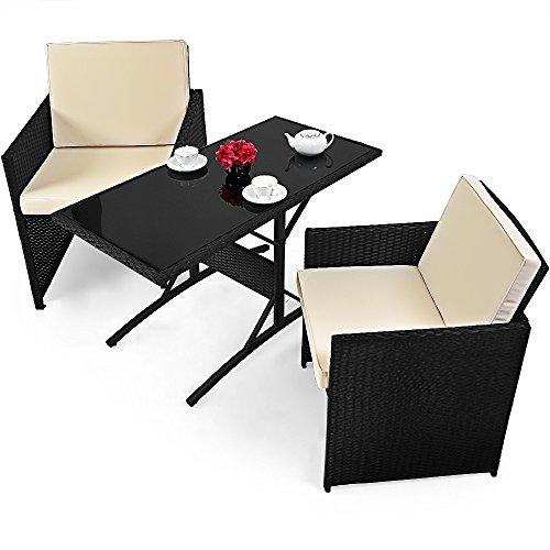 Deuba Poly Rattan 3 TLG Balkonset Cube 7cm Dicke Auflagen Tisch und 2 Stühle Sitzgruppe Sitzgarnitur Gartenmöbel Set