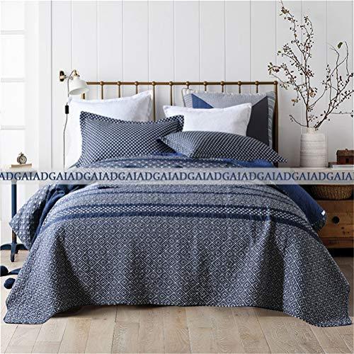 ADGAI Bedsprei met quilt, kingsize formaat, 230 x 250 cm, 100% katoen, wit, geometrische print, omkeerbaar, spreien en spreien met kingsize formaat, voor tweepersoonsbed, 3-delig, zacht dekbedovertrek met 2 kussensloop