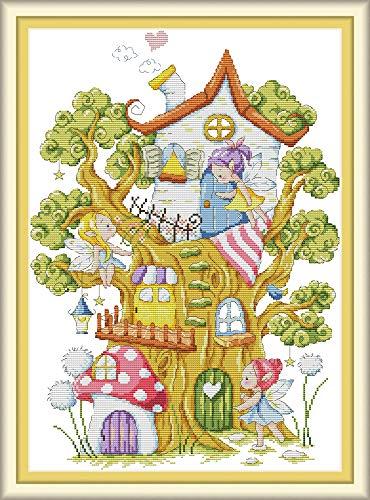 CaptainCrafts, kit per punto croce con motivo prestampato raffigurante la casetta sull'albero degli elfi, ideale per principianti, bambini e adulti Bianco 11CT