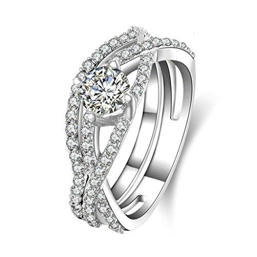 Daesar Silberring Damen Ring Silber Ehering für Damen Benutzerdefinierte Ring Doppel Ring Größe:56 (17.8)