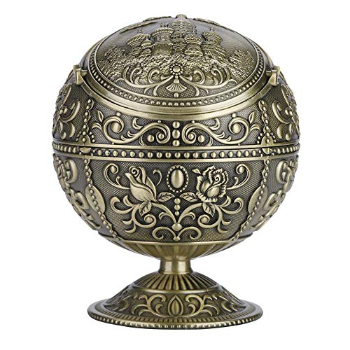 防風灰皿ポータ ヨーロッパの レトロな灰皿 アウトドア 蓋金属 パターン 金属灰皿ボールを屋内使用 ファンシーギフト(アンティークブラス)