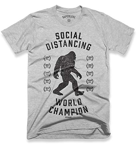 Superluxe Clothing Big Foot Mens Womens Unisex Social Distancing World Champion Funny Quarantine T-Shirt, Athletic Heather, X-Large